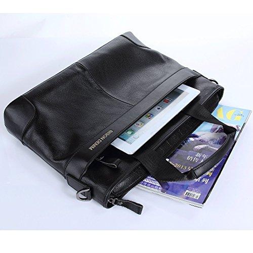 BISON DENIM Herren Klassische Echtes Leder Business Handtasche Aktenkoffer Schulter Messenger Satchel Tasche für Laptop Macbook Schwarz/N2195-1H