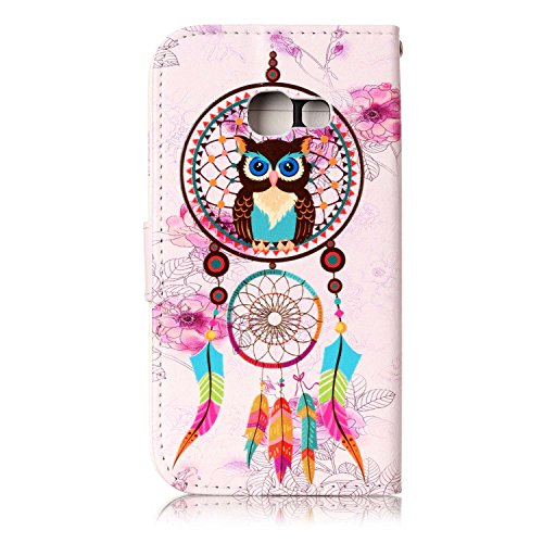 Coque Etui pour Galaxy A3 2017,Galaxy A3 2017 Coque Portefeuille PU Cuir Etui,Galaxy A3 2017 Coque de Protection en Cuir Folio Housse, iPhone 7 Leather Case Wallet Flip Protective Cover Protector, Uka Hibou Campanula