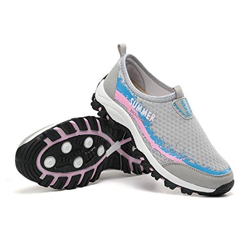 DorkasDE Mesh Schuhe Atmungsaktiv Wassersportschuhe Sneaker Strandschuhe für Damen Herren Kinder Damengrau