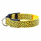 Collier pour chien ou chat avec lumière LED de sécurité Taille XL Couleur Jaune léopard