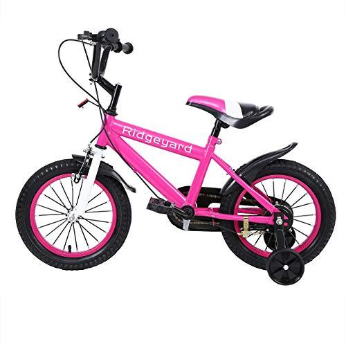 MuGuang 14 Pollici Bicicletta da Bambina Bicicletta per Bambino Studio apprendimento Equitazione Bici Ragazzi Ragazze Bicicletta con stabilizzanti con Bell per 3-8 Anni