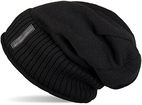 styleBREAKER warme Feinstrick Beanie Mütze mit sehr weichem Fleece Innenfutter, Unisex 04024065, Farbe:Schwarz