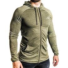 Natural Athlet Herren Fitness Trainingsjacke meliert - hochwertige Herren Sport Freizeitjacke - langarm, mit Taschen & Kapuze ideal für Fitnessstudio & Gym - Sport Freizeit Jacke für Männer