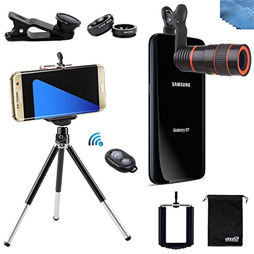 EEEKit 4in1 Photo Kit for Samsung Galaxy S7 S7 Edge iPhone 6S Plus SE,Tripod,8X Telescope Lens,Bluetooth Remote Control,Marco Wide Angle FishEye Lens