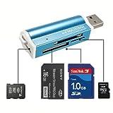 Arpoador Portable alle in eine Memory Card Reader für Micro SD MMC SDHC TF Blau