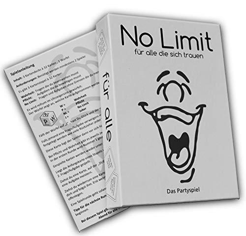 No limit für alle die sich trauen - Partyspiel - Trinkspiel - Gesellschaftsspiel - Saufspiel - Kartenspiel - ähnlich wie Tat, Wahrheit oder Pflicht - lustiges Spiel - feiern (Tabu Karten)