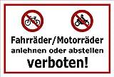 Schild - Fahrräder / Motorräder anlehnen oder abstellen verboten - 30x20cm mit Bohrlöchern | stabile 3mm starke Aluminiumverbundplatte – S00050-048-B +++ in 20 Varianten erhältlich
