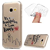 MAXFE.CO for Samsung Galaxy A3 2017 Case Ultra-Thin TPU Silicone Cover Case Classic Painting Transparent Clear Rubber Case for Samsung Galaxy A3 2017 - English Love