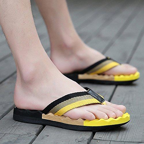 pantoufles hommes, tongs d'été, chaussures de plage, pantoufles de massage des pieds, pantoufles antidérapage été en plein air Black and yellow