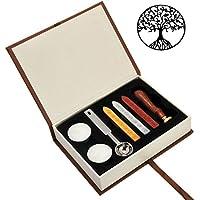 Mogoko Boîte de Sceau Cire Bougie Cuillère pour Cachet Timbre Lettre Invitation Cadeau - Cuivre Bois Vintage Rétro Classique - Tree Of Life