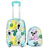 Blitzzauber24 2 Pezzi Valigia per Bambini con Zaino con Ruote Bagaglio a Mano per Viaggio (Bianco e Verde Fenicottero)