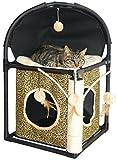 dobar 43103 Katzenbaum-Kratzbaum aus hochwertigem Kunststoffgerüst mit Textilbezug und Sisalstamm, inklusive Höhle zum Verstecken