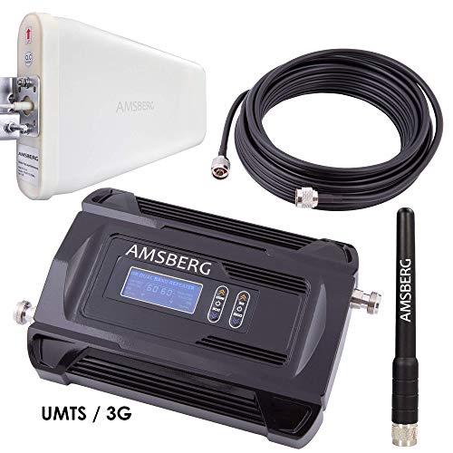 Amsberg GSM UMTS-3G Repeater Komplett Set für alle Provider, Handy Verstärker 17dBm regulierbar, Display, Gespräche D1 - D2 (T-Mobile, Vodafone, 900 MHz) und 3G UMTS (2100 MHz), CE! Zertifiziert Dual-band Handy-antennen
