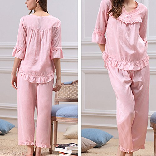 Zhhlaixing Ladies Fashion V-collar Pyjama Sets Comfortable Nightwear Two pieces pink