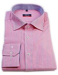 ETERNA Herren Langarm Hemd Modern Fit rosa / weiß gestreift Brusttasche mit Patch 4755.51.X157