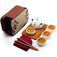 Juego de té portátil de Kungfu, estilo vintage chino / japonés, juego de té de cerámica hecho a mano