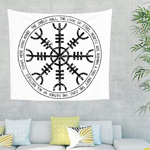 Casco celta de la hormiga escandinavo, runas de tatuaje, pared colgante, tapiz, placa islandesa vikinga, tapiz de pared nórdico mitología, manta de pared 150 x 130 cm blanco