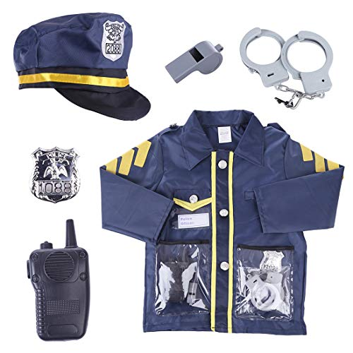 YAKOK 6er Polizei Kinder Kostüm, Polizei Spielzeug Set, Polizist Kostüm Kinder mit Cap, Handschellen, Walkie-Talkie usw für Jungs und Mädchen