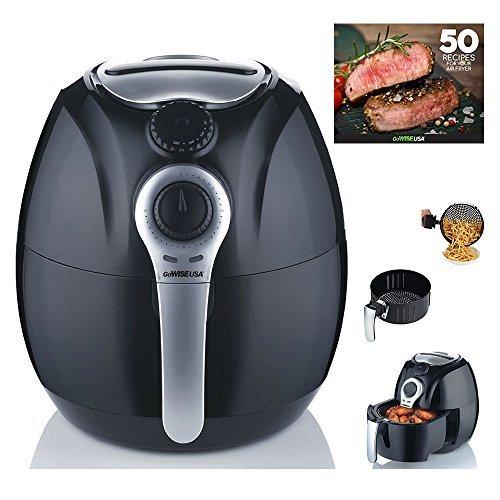 GoWISE USA GW22622 2nd Generation Electric Air Fryer w/ Temperature Control, Detachable Basket & Carry Handle - Black 3.7 QT, 1500W