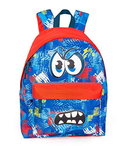 Eastwick Zaino Scuola elementare Americano per Bambino Bimbo Stampa Face Blu/Rosso 2 Zip