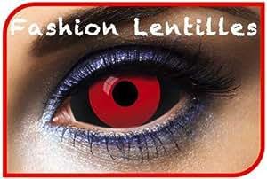 Lentilles sclera 011 - 2 couleurs rouge et noir duree 1 an (sans correction)