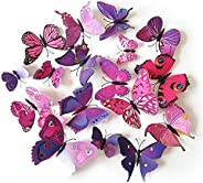 Set 12pcs 3D Pink Purple Mix Colour Butterfly Wall Stickers Decoration-GF-132-1