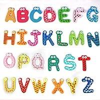 Fulltime(TM) Cute Colorful 26 Letters Wooden Cartoon Fridge Magnet kid
