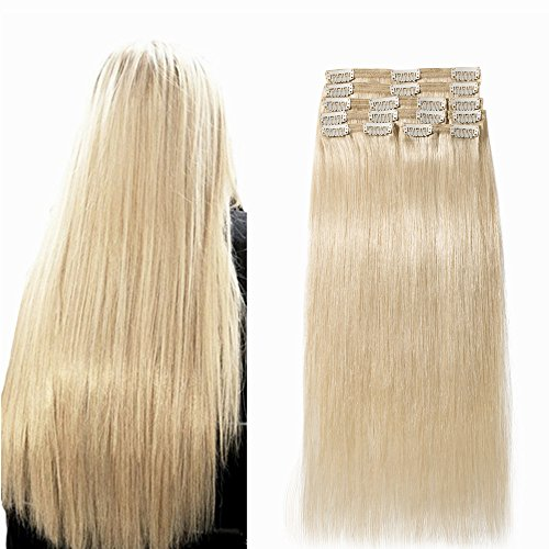 25cm-55cm 110g-160g hair extension capelli veri clip 100% remy human hair double weft full head 8 ciocche folte 18clips, 25cm-110g, 60# biondo