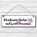 Ich schmeiss alles hin und werd Prinzessin - Dekoschild Türschild Wandschild aus Holz 10x30cm - Holzdeko Holzbild Deko Schild zur Dekoration Zuhause im Büro auch perfekt als Geschenk Mitbringsel zum Geburtstag Hochzeit Weihnachten für Familie Freundin Mutter Schwester Tochter