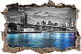 Pixxprint 3D_WD_5283_92x62 New York Skyline am Abend Wanddurchbruch 3D Wandtattoo, Vinyl, schwarz / weiß, 92 x 62 x 0,02 cm