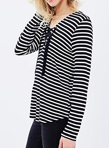 Smile YKK V-Ausschnitt Loose Fit Damen Langarmshirt Oberteil Shirt Tops  Hemd Bluse Pullover Pulli ...