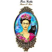 Broche épingle Frida Kahlo et le chat artiste peintre bronze-n-roses cadeau