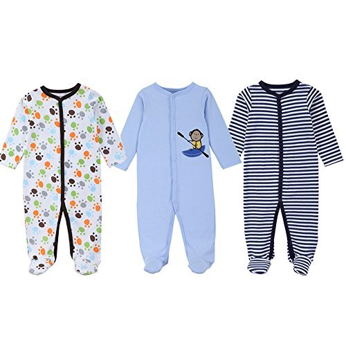 Samber 3pcs Newborn Toddler Baby Bodysuit Cotton Long-sleeved Romper (10-12 months)