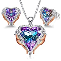 Angel Wing Heart Necklaces and Earrings Embellished with Crystals from Swarovski 18K White Gold Plated Jewelry Set Gifts for Women Purple