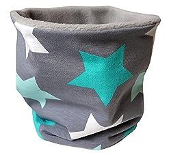 WOLLHUHN Jungen/Mädchen Warmes Big Stars Halstuch/Schlupfschal grau/mint, innen Fleece grau 20151210
