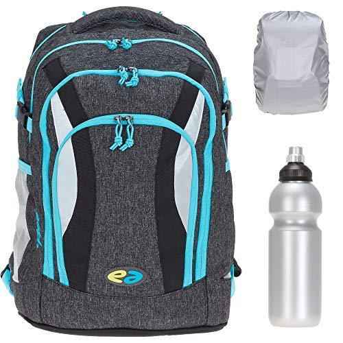 Schulrucksack Rucksack YZEA Air mit Brustgurt 26 L modernes Tragesystem, mit Flasche und Regenschutz fr (Rock 628 (dunkelgrau))
