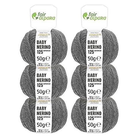 100% Merinowolle extrafine superwash in 35+ Farben (kratzfrei) - 300g Set (6 x 50g) - Baby Merino Wolle zum Stricken & Häkeln in 4 Garnstärken - Mittelgrau