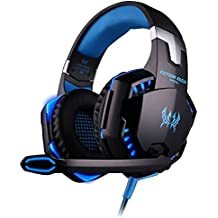 [ Dernière Version Casque Gaming pour PS4 ] KingTop EACH G2000 Casque Gaming Filaire avec micro Basse Stéréo LED Lumière Contrôle du Volume pour PS4 PC Xbox One S Téléphones Mobiles, Bleu et Noir