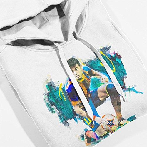 Sidney Maurer Neymar Barcelona FC Official Women's Hooded Sweatshirt White