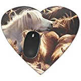 Grupo de ponis islandeses Mousepad - neopreno para ópticas y ratón láser, marrón, Heart Mousepad