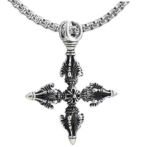 Thai amulet pendant necklace le meilleur prix dans amazon savemoney double vajra dorje stainless steel pendant tibet thai amulet necklace mozeypictures Choice Image