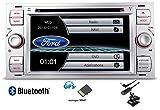 XTRONS Autoradio 7' 2 DIN DVD USB GPS Bluetooth Custom fit pour Ford Focus C-Max S-Max Transit Fiesta Galaxy Kuga Silver