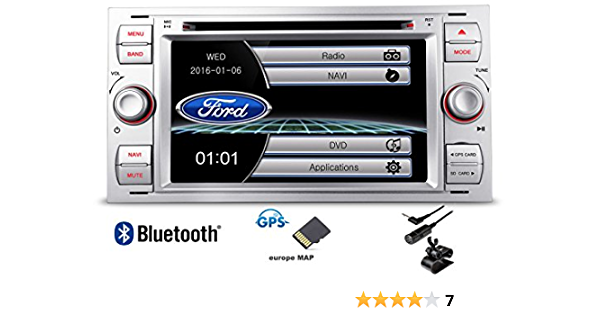 Autoradio 7 2 Din Dvd Usb Gps Bluetooth Custom Fit Für Ford Focus C Max S Max Transit Fiesta Galaxy Kuga Silver Auto