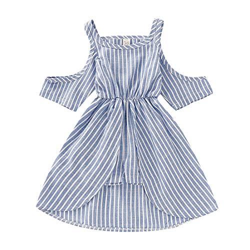 Koojawind Neugeborenes Baby Scherzt MäDchen-Streifen-SäUglingskurzschluss-HüLsen-Sommer-Prinzessin Dress Clothes, TräGerlosen Gestreiften Rock Der Kinder, 6M-2Years -