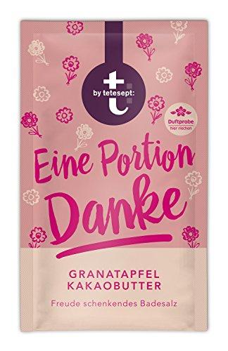 """t: by tetesept Badesalz\""""Eine Portion Danke\"""" – Hauchfeine Puderkristalle mit Granatapfel und Kakaobutter - Bade-Geschenk für die Sinne – 10 x 60 g"""