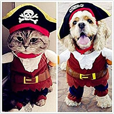 VWH Captain Pirate Cat Clothes Coat with Skull Hat Pet Dog Puppy Cat Cosplay Props