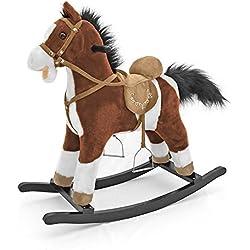 Clásico, caballo balancín Mustang, caballo balancín de peluche suave - hace sonidos de caballo, Schaukelpferd Muster:Marrón oscuro