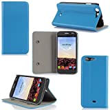 Wiko Stairway Tasche Leder Hülle Blau Cover mit Stand - Zubehör Etui Wiko Stairway Flip Case Schutzhülle (PU Leder, Handytasche Blau / Blue) - XEPTIO accessoires