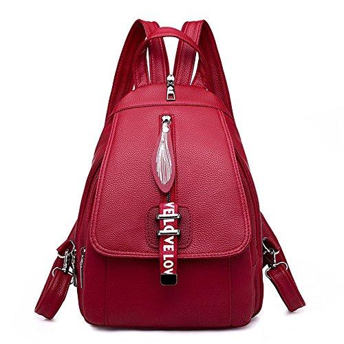 Frauen PU Leder Satchel Rucksack Große Schwarze College School Bag für jugendlich Mädchen (Farbe : Rot)