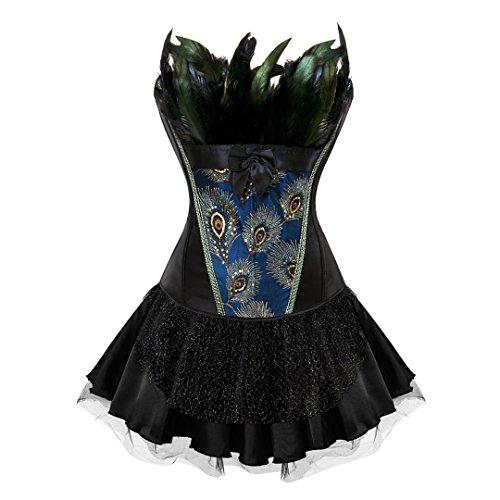 Kranchungel Damen Burlesque Vollbrust Korsett Corsage Rock Petticoat Kostüme Pfau Pattern 6X-Large (Kostüme Cosplay Bestes)